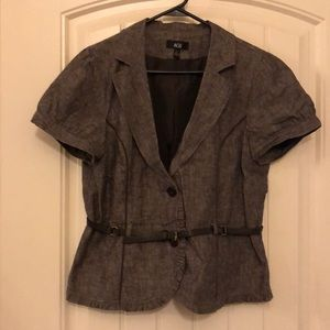 Brown tweed short sleeve belted jacket